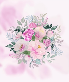 Aquarel zacht roze boeket bloem en groene bladeren met zachte roze bloemblaadje achtergrond