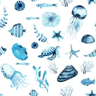 Aquarel zeeleven indigo naadloze patroon