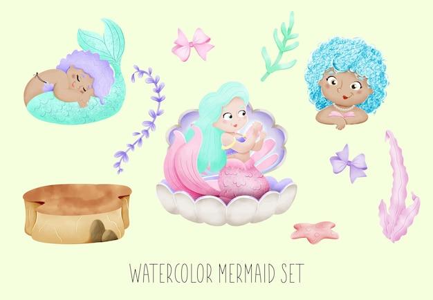 Aquarel zeemeermin set