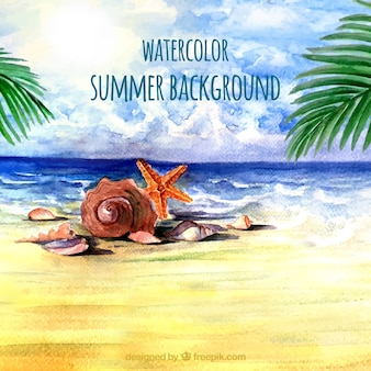 Aquarel zomer achtergrond