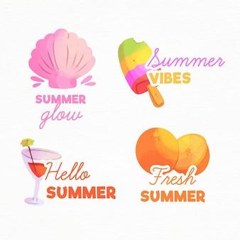 Aquarel zomer badges