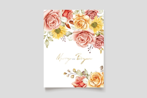 Aquarel zomer bloemen en bladeren bruiloft uitnodigingskaart