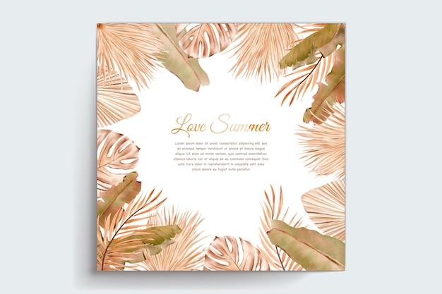Aquarel zomer bloemen en bladeren kaart