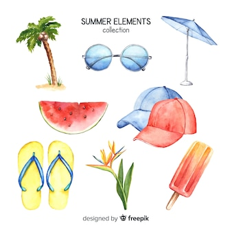 Aquarel zomer element collectie