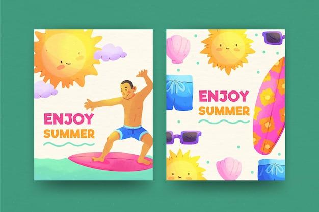 Aquarel zomer kaarten
