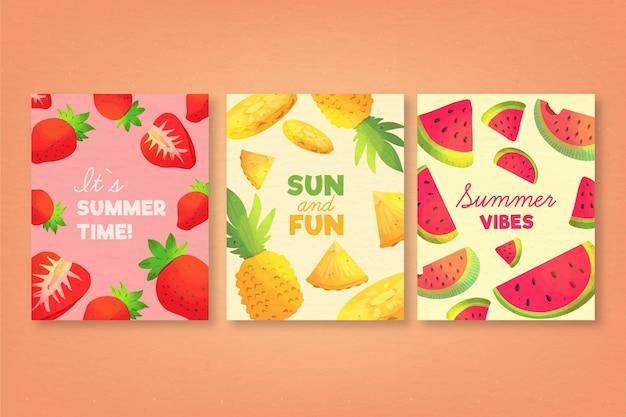 Aquarel zomer kaartsjabloon collectie