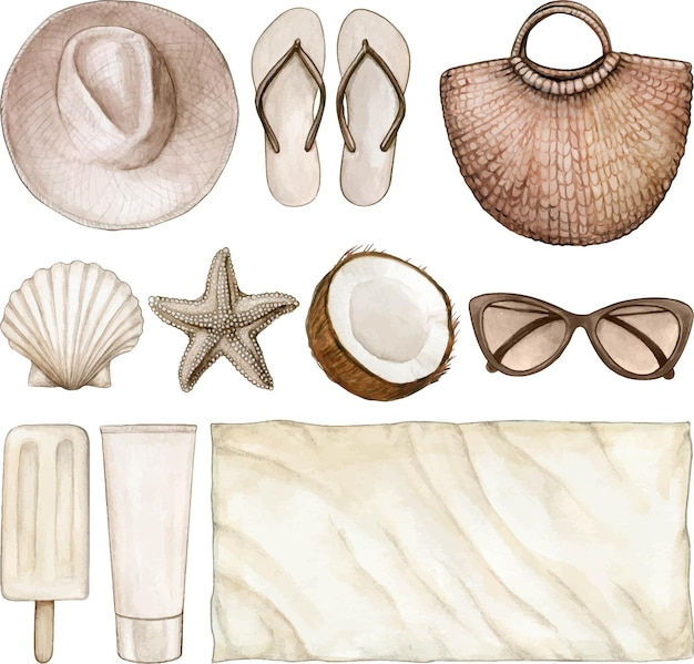 Aquarel zomer object illustratie neutrale kleuren instellen Premium Vector