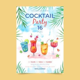 Aquarel zomer partij poster sjabloon thema