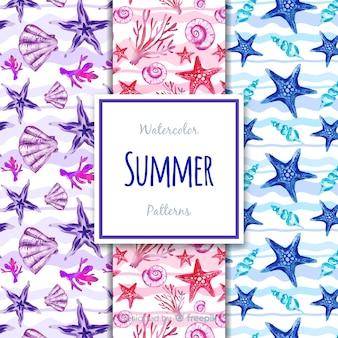Aquarel zomer patroon collectie