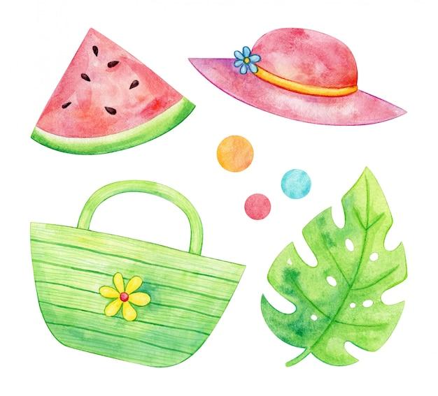 Aquarel zomercollectie van hoed, watermeloen, tas en blad