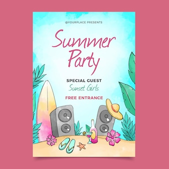 Aquarel zomerfeest poster