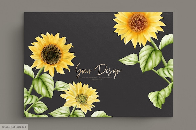 Aquarel zon bloem bruiloft uitnodigingskaart