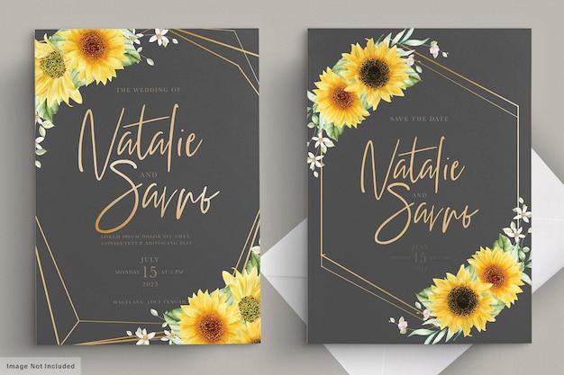 Aquarel zon bloem uitnodiging kaartenset