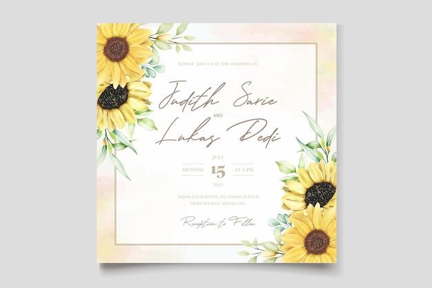 Aquarel zonnebloem bruiloft uitnodigingskaart