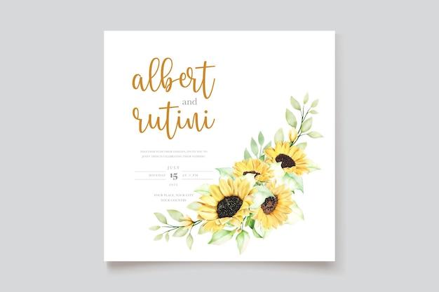 Aquarel zonnebloem bruiloft uitnodigingskaarten set