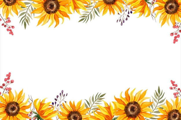 Aquarel zonnebloem frame met bessen