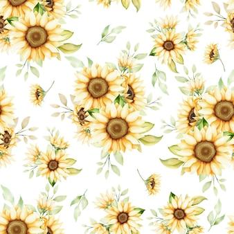 Aquarel zonnebloem naadloos patroon