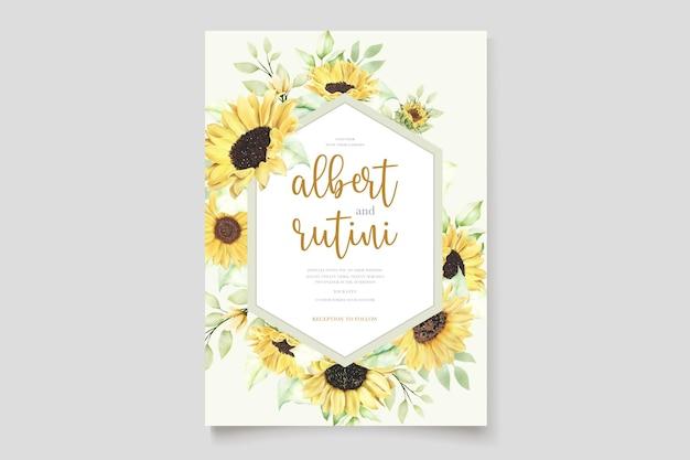 Aquarel zonnebloem uitnodigingskaart