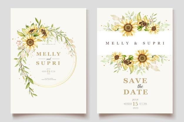 Aquarel zonnebloem uitnodigingskaarten set