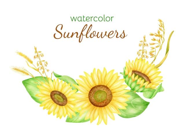 Aquarel zonnebloemen met bladeren en tarweaartjes herfstboeket illustratie
