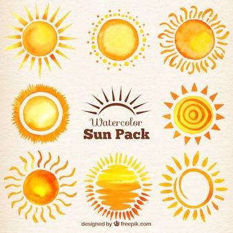 Aquarel zonnen pak