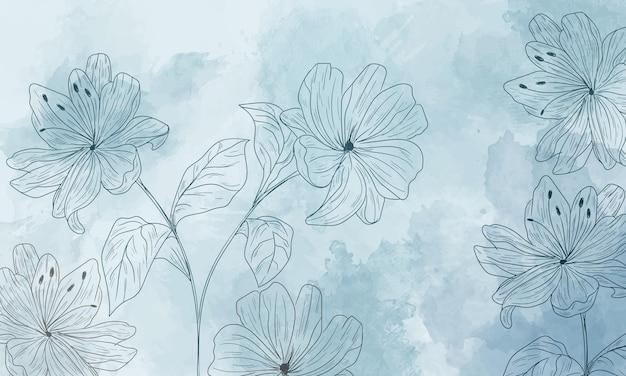 Aquarelachtergrond met handgetekende bloemenelementen