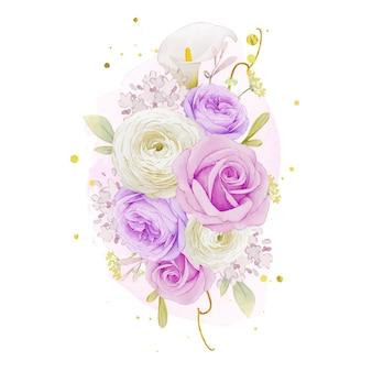 Aquarelboeket van paarse rozenlelie en ranonkelbloem