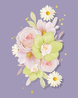 Aquarelboeket van roos en groene orchidee