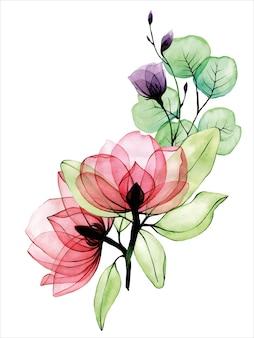 Aquarelboeket van transparante bloemen transparante roze wilde rozen en paarse wilde bloemen