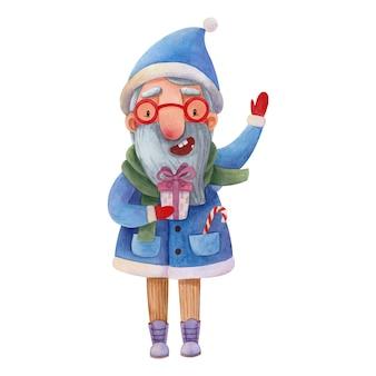 Aquarelillustratie met een tekenfilm van de kerstman in een blauw pak