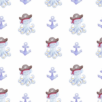 Aquarelpatroon met octopus en anker octopus piraat