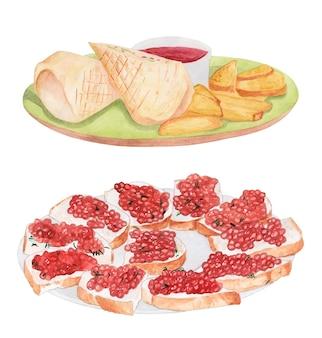 Aquarelset van een bord met shoarma met saus en sandwiches met rode kaviaar