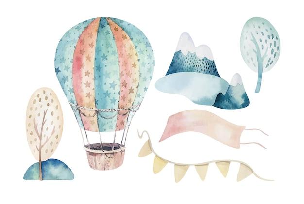 Aquarelset van een schattige en mooie luchtscène compleet met heteluchtballonnen, wolken, bomen, huizen