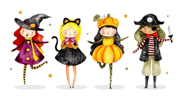 Aquarelset van schattig halloween-personagekostuum