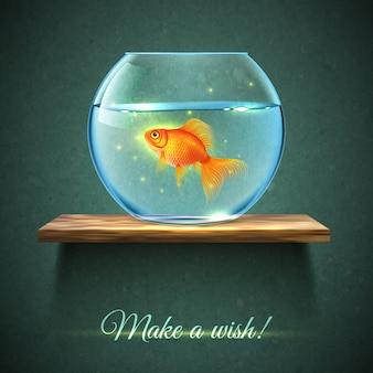 Aquarium op een plank poster