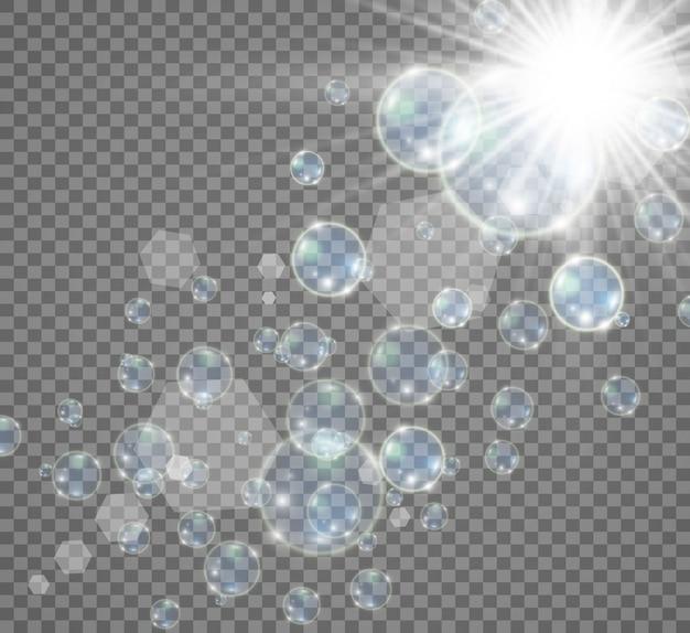 Aquarium op een transparante achtergrond. illustratie van realistische bubbels.