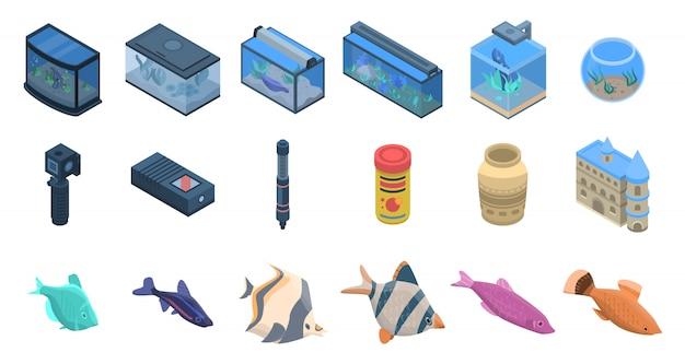 Aquarium pictogrammen instellen. isometrische reeks aquarium vectorpictogrammen voor webontwerp dat op witte achtergrond wordt geïsoleerd