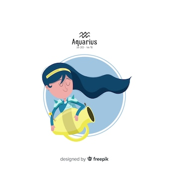 Aquarius karakter hand getrokken stijl