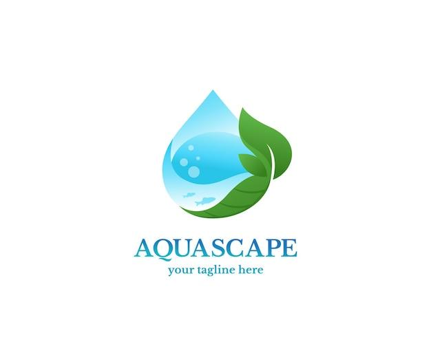 Aquascape logo vector ontwerp