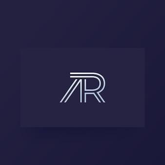 Ar-brieven, vectormonogram, logo op kaart