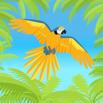 Ara parrot flat design vector illustration