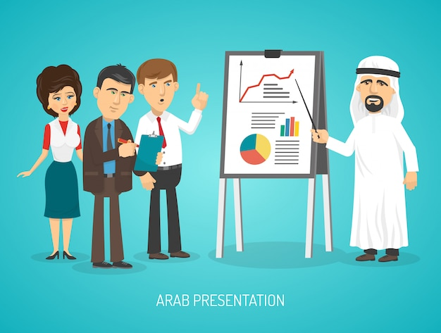 Arabier in traditionele arabische kleding doen presentatie met flip-over