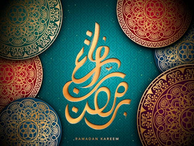 Arabisch kalligrafieontwerp voor ramadan, met islamitische geometrische patronen