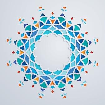 Arabisch kleurrijk rond het ornamentmozaïek van de patrooncirkel
