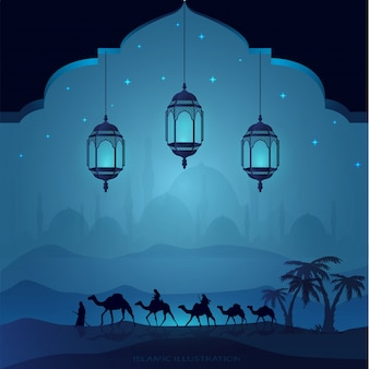 Arabisch land door 's nachts op kamelen te rijden vergezeld door sprankelende sterren, moskeeën, lantaarns voor illustratieve islamitische achtergrond