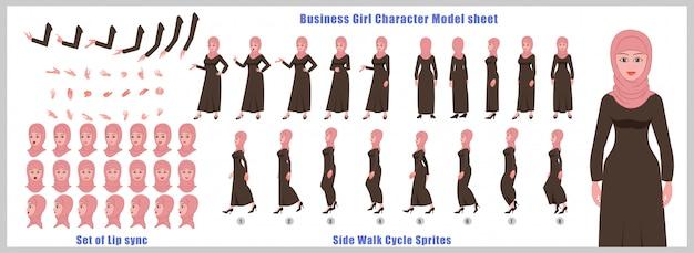 Arabisch meisje karaktermodelblad met loopcyclusanimaties en lipsynchronisatie