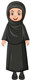 Arabisch moslimmeisje in zwarte kleuren traditionele kleding die op witte achtergrond wordt geïsoleerd