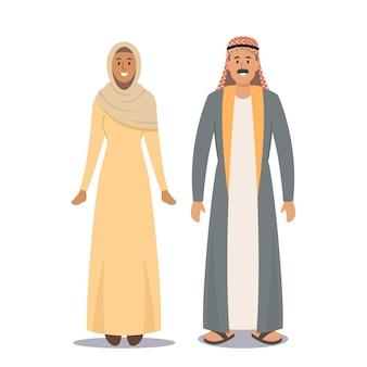 Arabisch paar man en vrouw, saoedische mensen geïsoleerd op een witte achtergrond. arabisch mannelijk karakter en meisje met baard