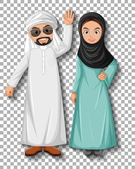 Arabisch paar stripfiguur Premium Vector