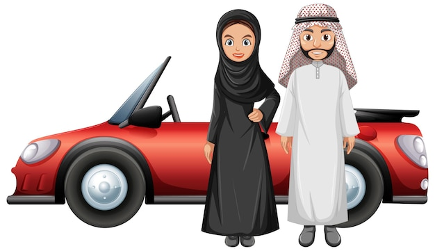 Arabisch paar voor de auto